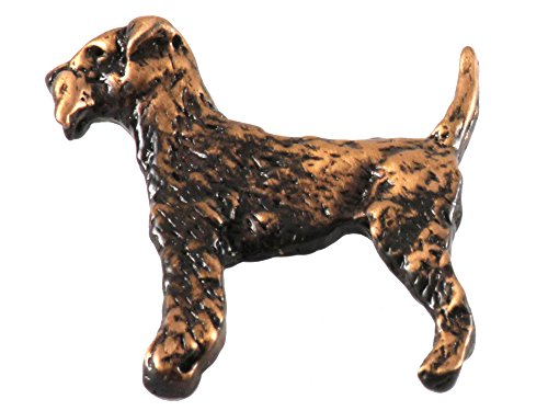 Creative Pewter Designs Pewter Full Body Airedale Handcrafted Dog Lapel Pin Brooch, Copper Plated, (Airedale Pin)