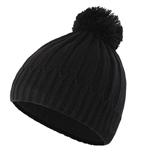Home Prefer Toddler Boys Winter Hat with Fleece Warm Knit Skull Beanie with Pom Black