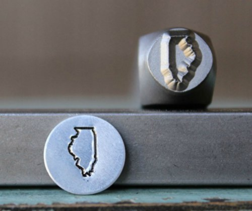 8mm Illinois US State Metal Punch Design Jewelry Stamp