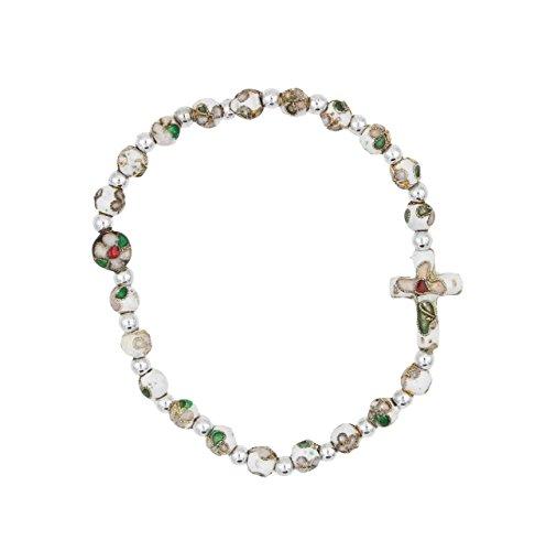 Christian Living White Cloisonne Bead Stretch Rosary Bracelet