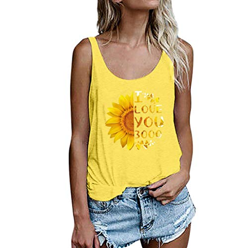 〓COOlCCI〓Women Tank Blouse Round Neck Sleeveless and Long Sleeve Sunflower Casual Ladies Waistcoat Tank Tops for Women Yellow (T-shirts Stores Is Good Life)