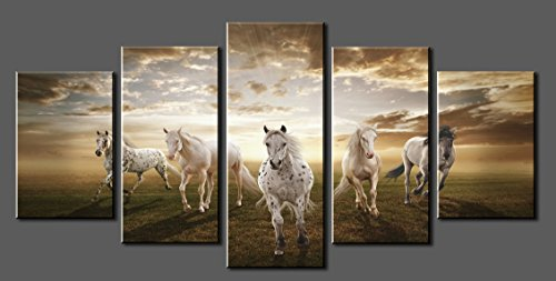 Canvas Prints ,Sk002 Modern Canvas Wall Art White Horse, Stretched And  Framed Ready To Hang, 5 Panels White Horse Canvas Print Photo Canvas Art  For Home ...