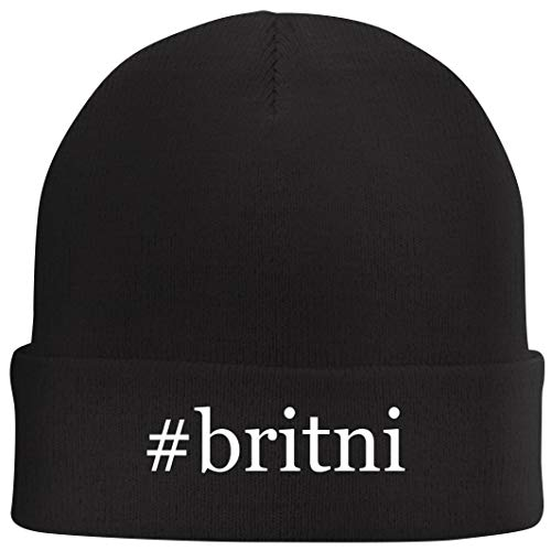 Tracy Gifts #Britni - Hashtag Beanie Skull Cap with Fleece Liner, Black, One Size