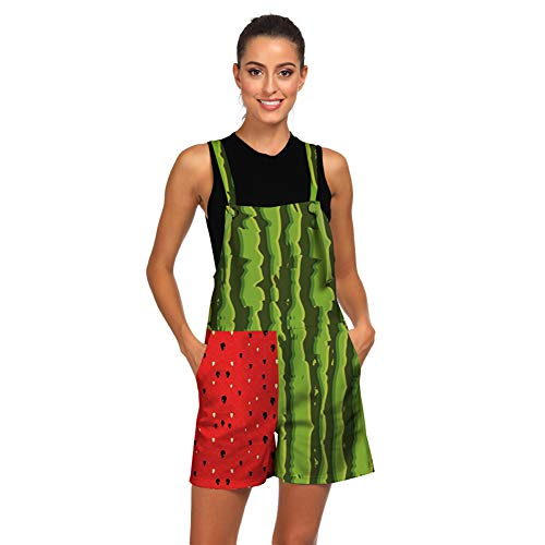 (Women's Overalls and Jumpers Watermelon 3D Printing Dungarees Pockets Rompers Jumpsuit Loose Shorts)