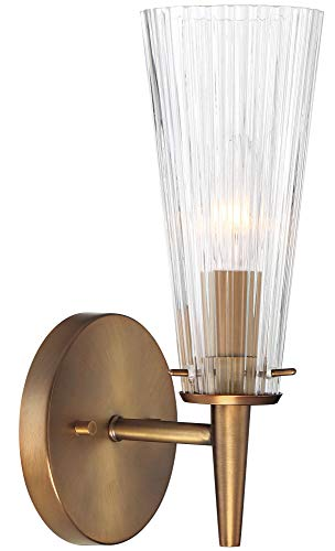 Brass Satin Fountain - Designers Fountain 88901-OSB Montelena - One Light Wall Sconce, Old Satin Brass Finish with Clear Ribbed Glass