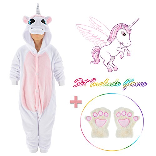 Unicorn Onesie for kids Animals Sleepwear Pajamas Pjs Costume with Gloves (White 5)