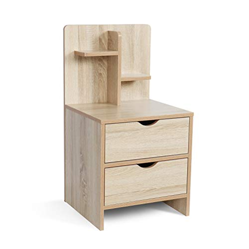 Nightstands Wooden Sofa Beside Table with Storage Shelf and 2 Drawers, Cabinet End Table Side Table for Bedroom Livingroom - White (Bedside Table With Storage)