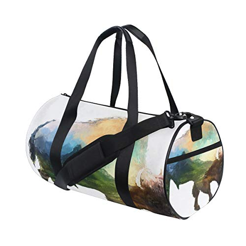 - KUDOUXIA Bison On White Background Double Exposure Water Resistant Gym Sports with independent zipper Travel Duffel Bag for Women and Men