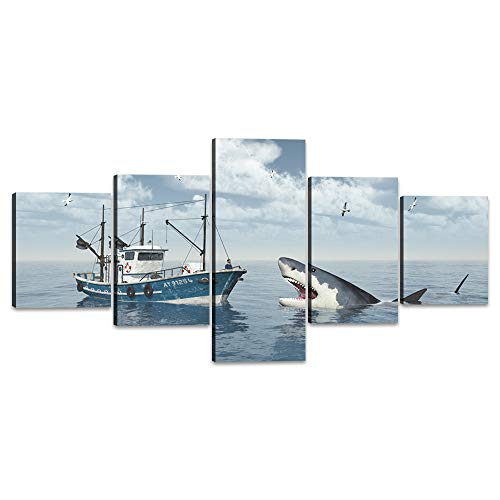Yatsen Bridge 5 Piece Seascape Wall Art Modern Funny Trawler and Great White Shark Painting Prints on Canvas Giclee Artwork Stretched and Framed Ready to Hang for Home Decor - 50''W x 24''H