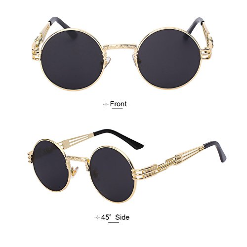 Round Spring Lens Driving with Sunlasses Frame for Women Polarized Metal TEMPO Gold and Steampunk Black Frame Frame Men Vintage Glasses fFqwB