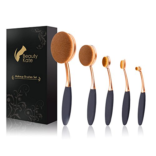 Oval Makeup Brush Set of 5 Pcs Professional Oval Toothbrush Foundation Contour Concealer Eyeliner Blending Cosmetic Brushes Tool Set by Beauty Kate (Rose Gold Black) (Best Oval Makeup Brush Brand)
