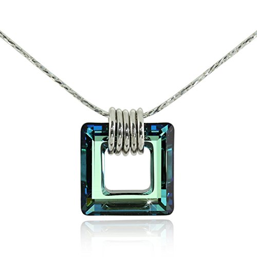 Square Pendant Made with Bermuda Blue Swarovski Crystal 925 Sterling Silver Necklace, 18