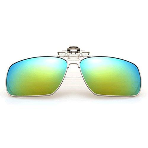 rectangulares gafas sol de de Flip gafas Inlefen sol Clip Unisex Metal Azul polarizado polarizadas up en Clip 4wqnWFZt