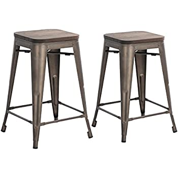 buschman set of two dark gun metal gray wooden seat 24 inches counter high tolixstyle metal bar stools stackable