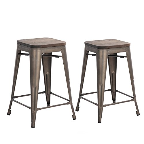 Finish Bar Wood Bronze Stool (Buschman Set of Two Bronze Wooden Seat 24 Inches Counter HeightTolix-Style Metal Bar Stools, Indoor/Outdoor, Stackable)