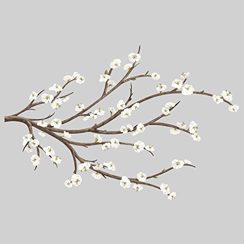 RoomMates White Blossom Branch Peel And Stick Giant Wall Decals with Flower Embellishments by RoomMates (Image #1)