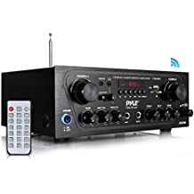 Pyle Upgraded Karaoke Bluetooth 2 Channel Home Audio Sound Power Amplifier with Aux-in, USB, 2 Microphone Input with Echo, Talkover for PA, Black (PTA24BT)