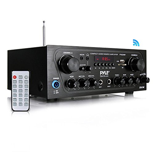 - Pyle Upgraded Karaoke Bluetooth Channel Home Audio Sound Power Amplifier w/AUX-in, USB, 2 Microphone Input w/Echo, Talkover for PA, Black (PTA24BT)