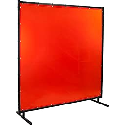 Steiner 538HD-4X6 Protect-O-Screen HD Welding Screen with Flame Retardant 14 mm Orange Tinted Transparent Vinyl Curtain, 4\' x 6\'