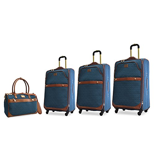Quilted Luggage Set (Adrienne Vittadini 4 Piece Quilted Expandable Spinner Luggage Set Teal)