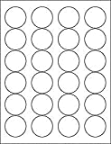 """Office Products : (6 SHEETS) 144 1-2/3"""" BLANK CRYSTAL CLEAR GLOSSY ROUND CIRCLE PRINTABLE STICKERS FOR LASER PRINTERS ~ SIZE: 8-1/2""""X11"""" STANDARD SHEETS"""