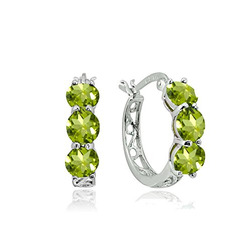Sterling Silver Peridot Round Filigree Three Stone Hoop Earrings