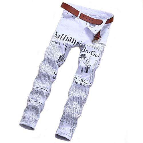 Pantaloni Con Stampa Uomo In Dritti A Bianca Jeans Laisla Classiche Senza Fashion Da Alta Ragazzi Cinturino Di Ebano Vita Pwxxq67It
