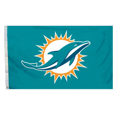 (NFL Miami Dolphins Logo Flag with Grommets, 3 x)