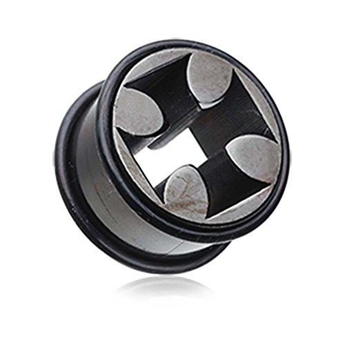 Blackline Iron Cross Solid Steel No Flare Ear Gauge Tunnel Plug - 5/8