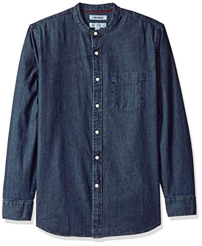 Goodthreads Men's Standard-Fit Long-Sleeve Band-Collar Denim Shirt, -dark blue, ()