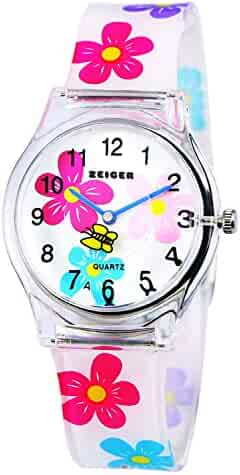 Zeiger Time Teacher Teen Young Girls Children Kids Watches, Colorful Flower Resin Band