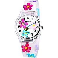 Zeiger Tiempo Teacher Teen Chicas Jóvenes Niños Relojes, Colorful Flower resina de banda