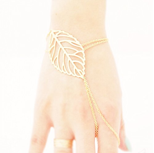 Buy Its Hollow Leaves Gold Finger Ring Bangle Slave Chain Bracelet