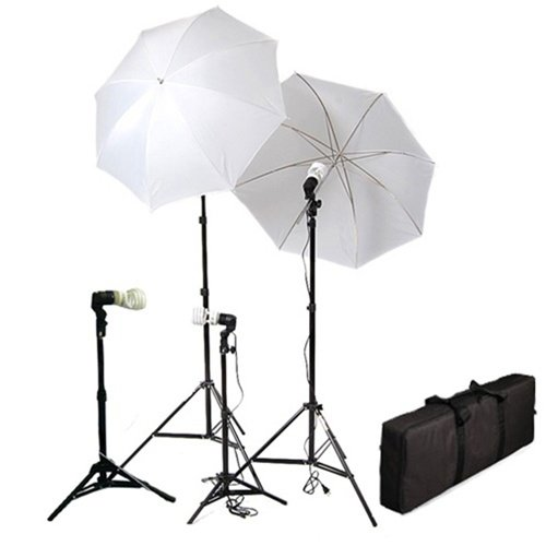 Cowboystudio 4 Piece Continuous Photography/Video Studio Digital Lighting Kit with Umbrellas and Background Lights by CowboyStudio
