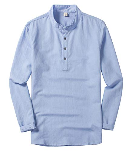 utcoco Men's Retro Chinese Style Short Sleeve Linen Henley Shirts (X-Large, Light Blue-Long - Boys Linen Light Blue