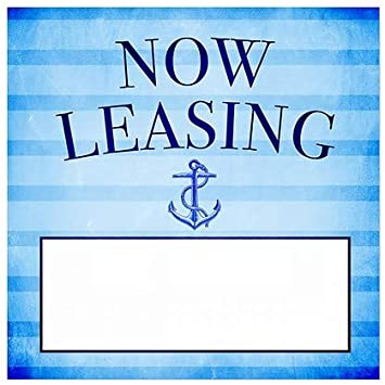 24x24 Nautical Stripes Window Cling Now Leasing CGSignLab 5-Pack