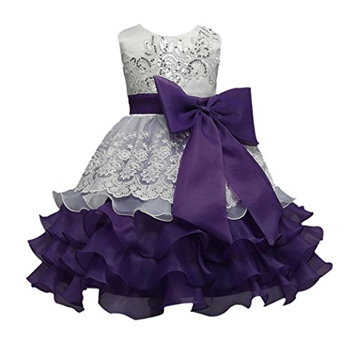 Girls' Dress, Auwer Bowknot Kids Girl Dress Princess Formal Pageant Gown Party Bridesmaid Dress (3T, Purple) from Auwer