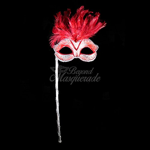 4everStore Masquerade Mask with Handheld Stick (Red/Silver)