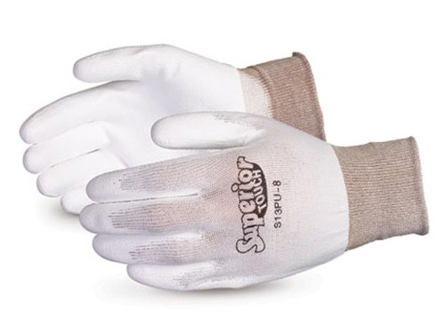 Superior S13PU Superior Touch Nylon String Knit Glove with Polyurethane Coated Palm, Work, 13 Gauge Thickness, Size 5, White (Pack of 1 Dozen) by Superior Glove Works B00BHMDN22