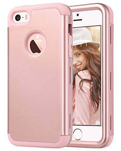 ULAK iPhone SE Case Rose Gold,iPhone 5S Case,iPhone 5 Case, Hybrid Shockproof Hard PC+Soft Silicone Anti-Slip Durable Dust Scratch Protective Cover for Apple iPhone SE/5S/5,Rose Gold ()