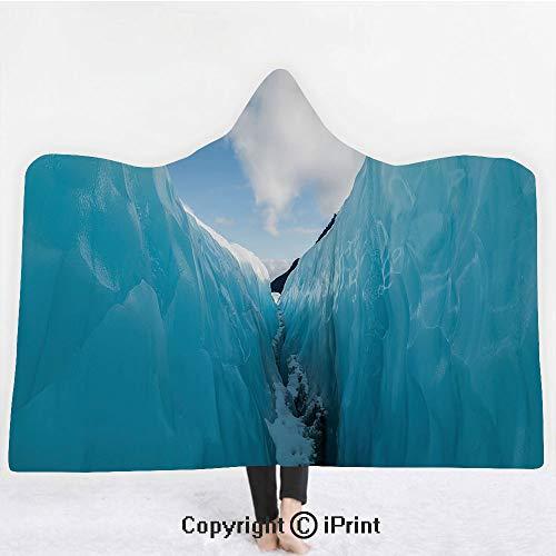 Nature Decor 3D Print Soft Hooded Blanket Boys Girls Premium Throw Blanket,Frozen Ice Mountains in North South Polar Cubes Winter Theme Art Print,Lightweight Microfiber(Kids 50