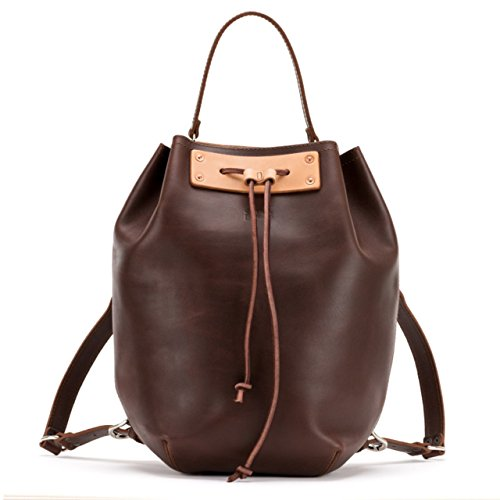 22de23c5a2 Saddleback Leather Co. Full Grain Leather Drawstring Bucket Laptop Book Bag  Backpack for School College