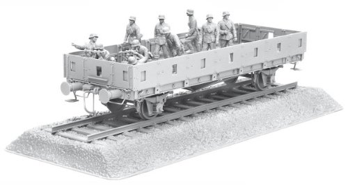 1/35 German Railway Flatbed Typ Ommr (2 Axle) w/ Bonus German Mg42 Heavy Machine Gun Team, German Artillery Crew Figure Sets And Length of Rail Track - German Mg42 Machine Gun