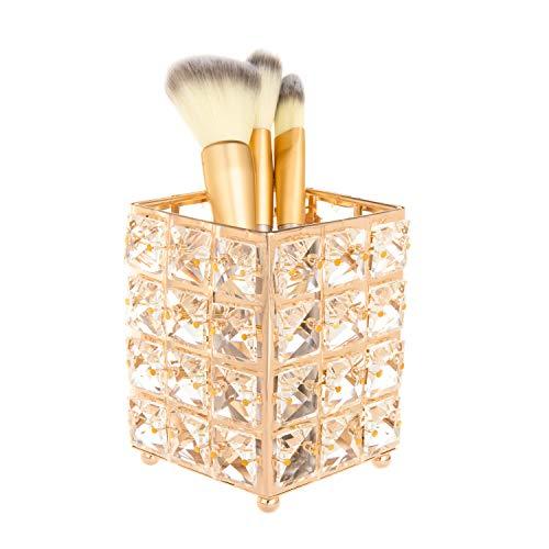 Feyarl Crystal Makeup Brush Holder Organizer Bling Cosmetics Tools Container Box Bursh Comb Holder Pen Pencil Holder Storage Candle Holder