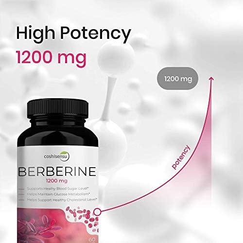 Berberine HCI 1200mg  Premium Diabetes Berberine Supplements  60 Capsules Maximum Strength HCI