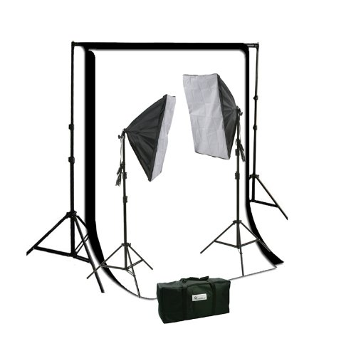 ePhoto 2 x Softbox Daylight Photographic Studio Video Continuous Light Lighting Kit and Muslin Complete Background Stand System HS260BW (Lighting Muslin)