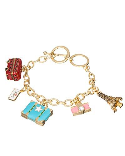 Jewelry Nexus Europe Trip Travel Gold-Tone Charm Bracelet Eiffel Tower London Bus Suitcase Camera -