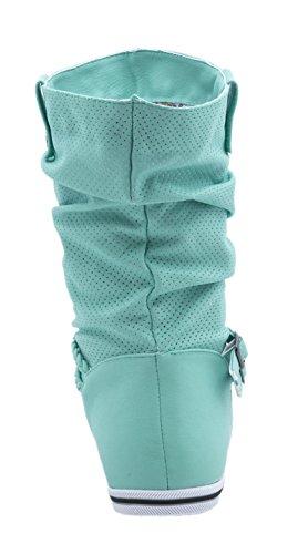 Elara Flache Damen Schlupfstiefel Bequeme Stiefel Boots Light-Gruen