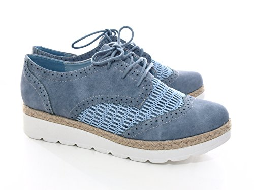 Damen Schnürr Halbschuhe Loafer Blue # 534