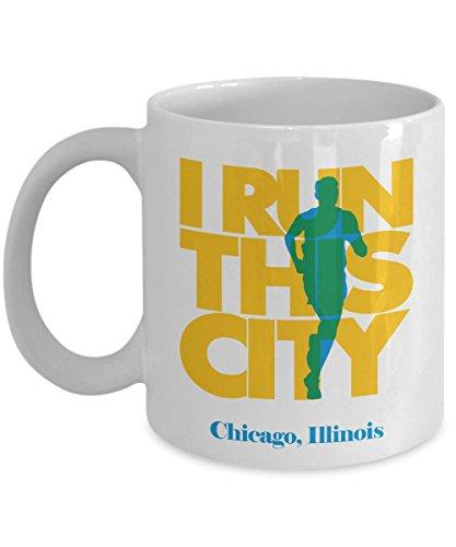 I Run This City Of Chicago, Illinois Running Coffee & Tea Gift Mug For A Long Distance Marathon Runner